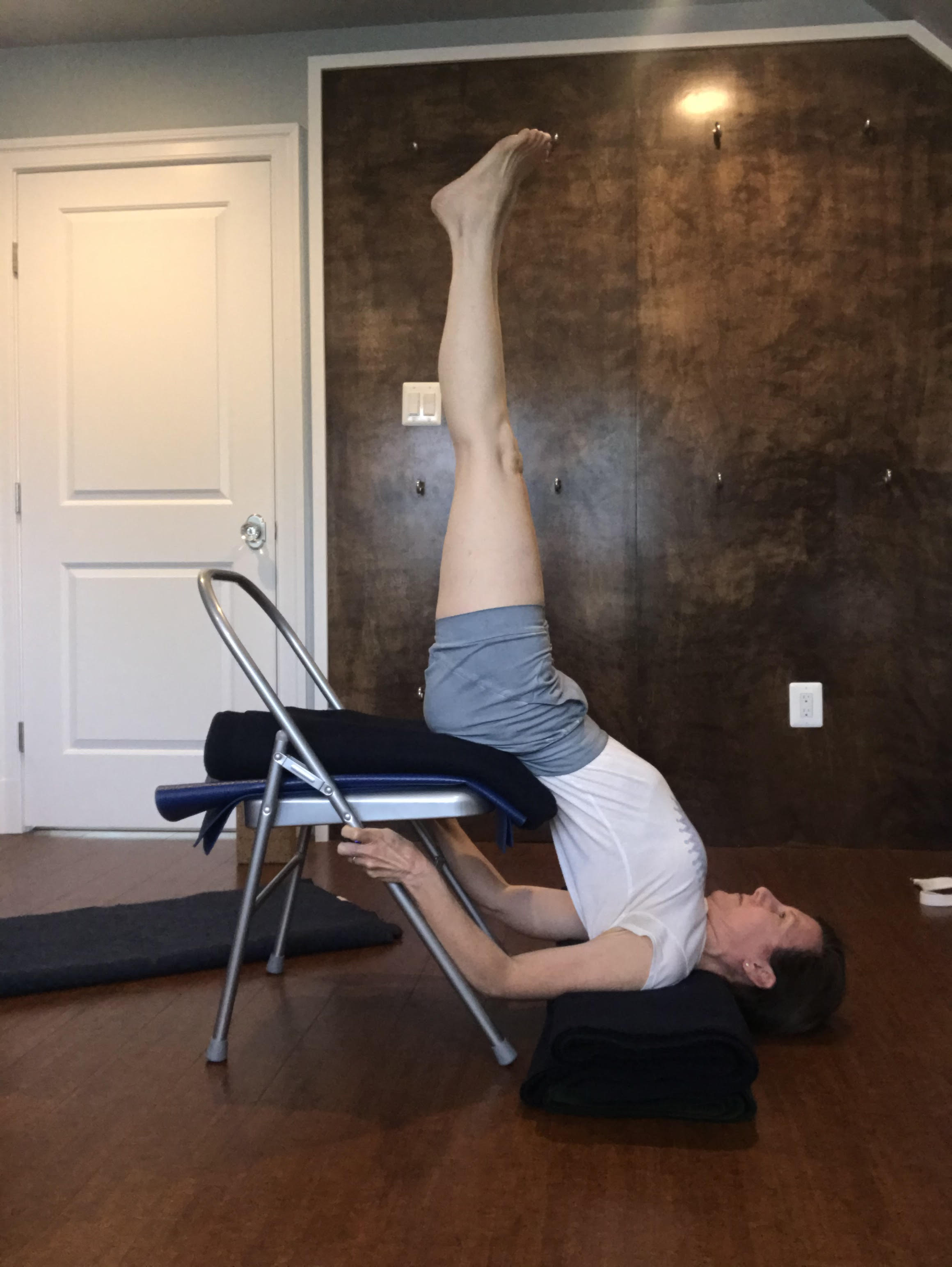 Megan Bowles in Chair Sarvangasana