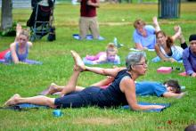 Eve Costarelli teaching yoga