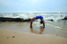 Lois Steinberg PhD in Urdhva Dhanurasana, Upward Bow Pose